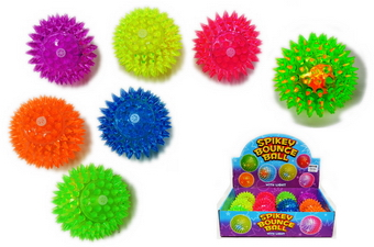 Light Up Spiky Squeaky Ball - 3 inches, 1 dz display box