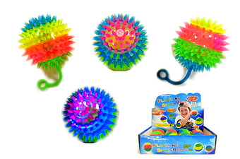 Light Up Spiky Squeaky YoYo Ball - 3 inch, 1 dz display box