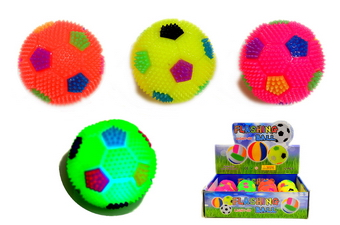 Light Up & Squeeky Soccer Ball - 2.5 inch , 1 dz display box