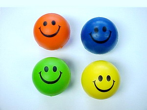 NEON SMILEY FACE RELAX BALL, 1 DZ/BAG