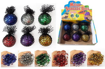 Mesh Glitter Squeeze Ball - 2.5 inch, 1 dz display box