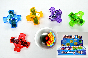 LIGHT UP SPINNING TOP, 1 DZ DISPLAY BOX