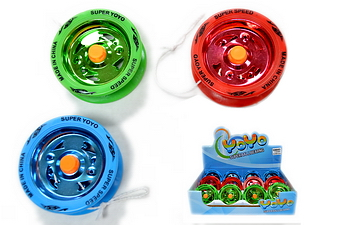 METAL NEON WHEEL YOYO, 1 DZ DISPLAY BOX