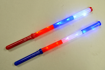 18 inch Red, White, Blue Light Up Stick
