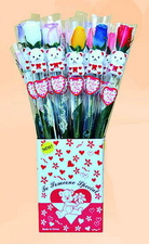 ASST CLR LONG STEM ROSE/BEAR, 2DZ/DISPLAY