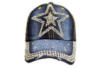 Rhinestone Denim Cap- DOUBLE STAR