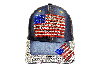 Rhinestone Denim Cap- USA Flag