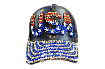 Rhinestone Denim Cap- USA