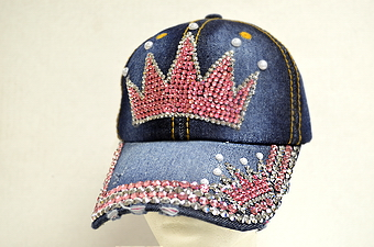 Denim Cap - Pink Rhinestone Crown