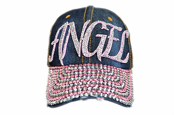 PINK ANGEL BLING DENIM CAP