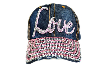 PINK LOVE BLING DENIM CAP