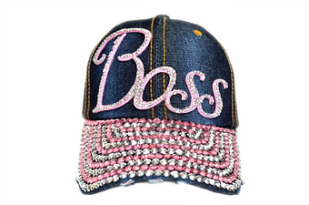 PINK BOSS BLING DENIM CAP