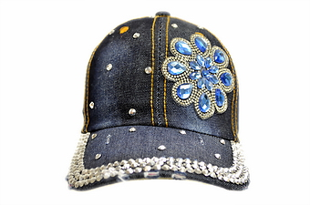 BLING BLING BLUE DAISY DENIM CAP