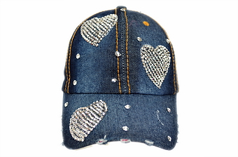 TRIPLE HEART BLING DENIM CAP