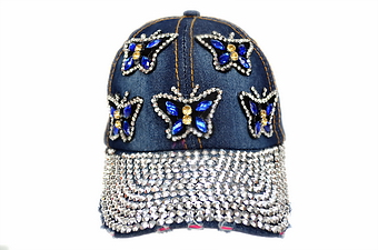 BLUE BUTTERFLY BLING DENIM CAP