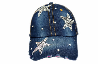 3 STARS DENIM BLING CAP
