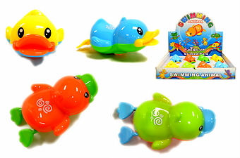 WIND UP SWIMMING DUCK, 8 PC DISPLAY BOX