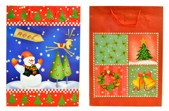 Asst' Print Christmas Gift Bag - size: 4x18x12.75 inches