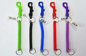 4 INCH PLASTIC COIL KEY CHAINS