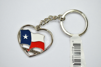I LOVE TEXAS FLAG KC, NICKLED COLOR