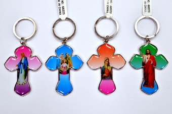 ASSORTED RELIGIOUS PICTURE CROSS KEY CHAIN