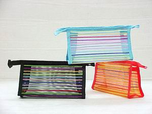 MESH STRIPE COSMETIC POUCH