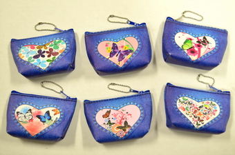 DENIM COLOR BUTTERFLY COIN PURSE