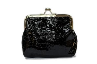 Alligator Skin Clasp Purse - black only