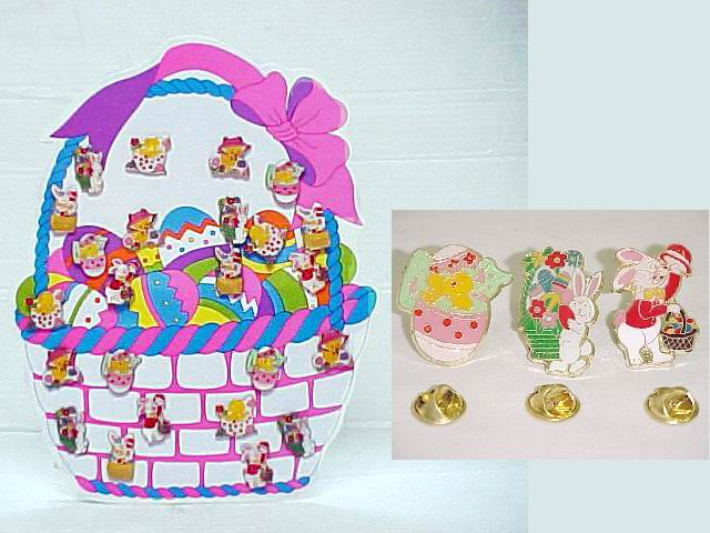 Assorted Easter Enamel Lapel Pins - 2 dz display card