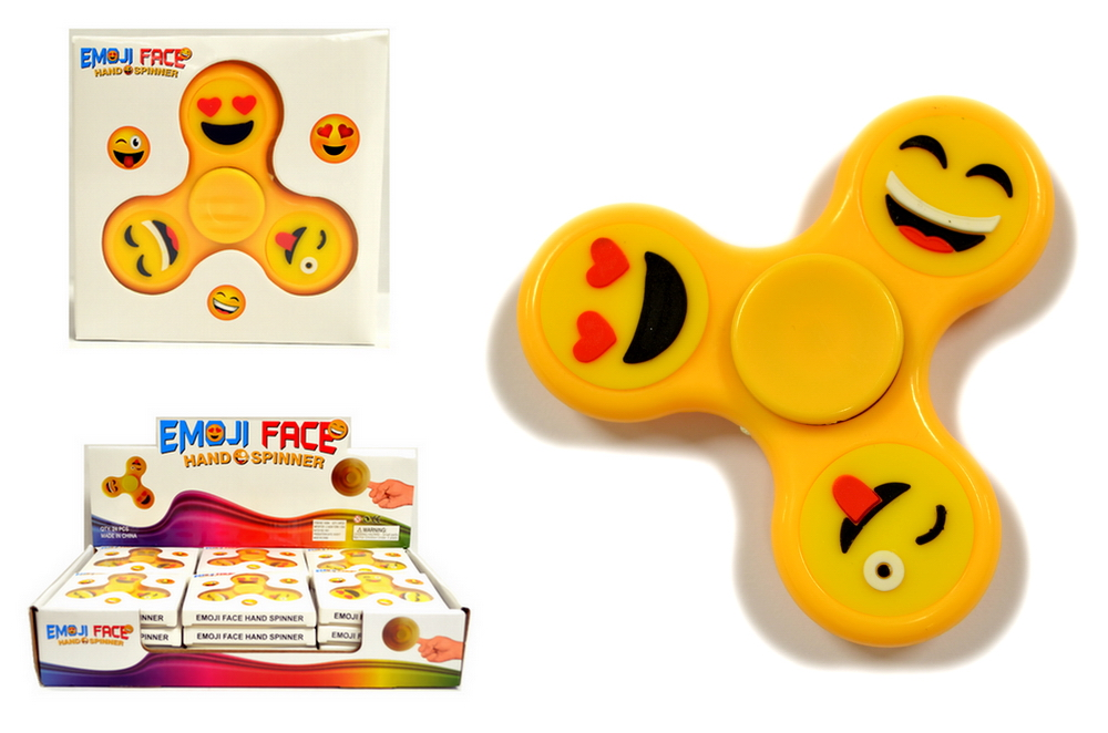 YELLOW SMILEY FACE SPINNER, 24 PC/DISPLAY BOX