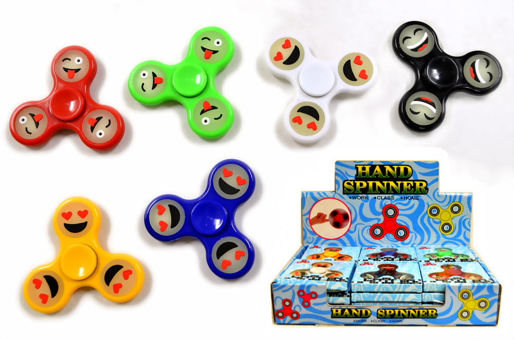 SMILEY FACE GLOW IN THE DARK SPINNER, 24 PC/DISPLAY BOX