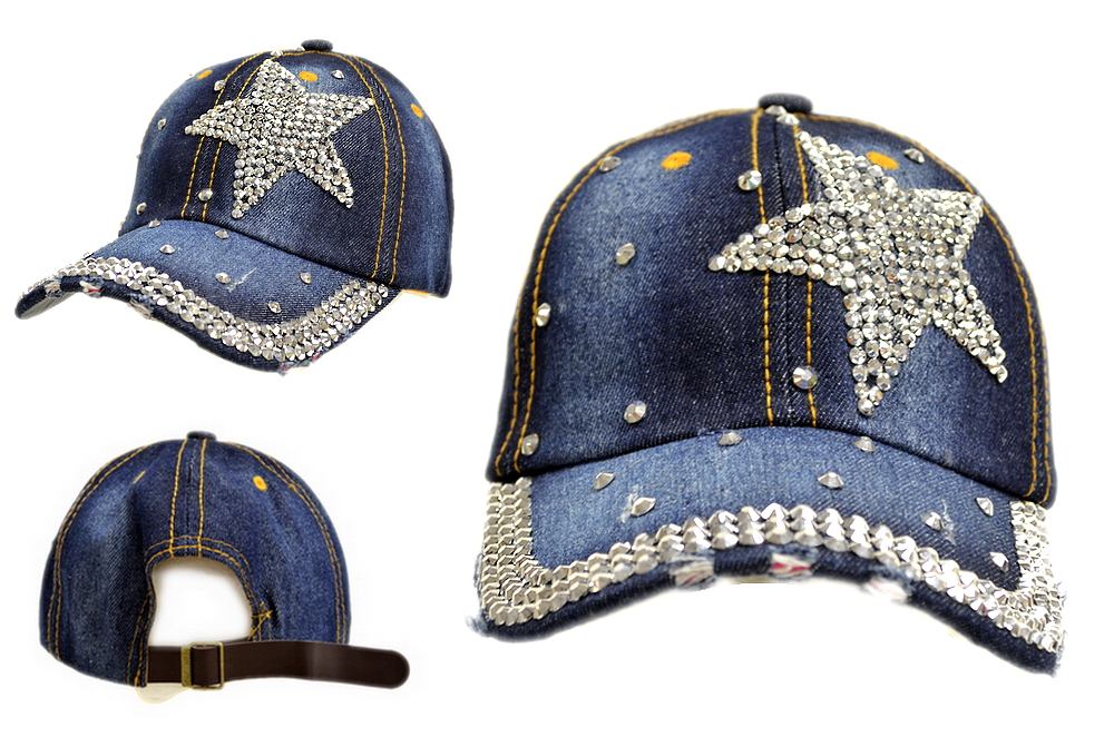 BLING BLING STAR JEWEL RHINESTONE DENIM BASEBALL CAP