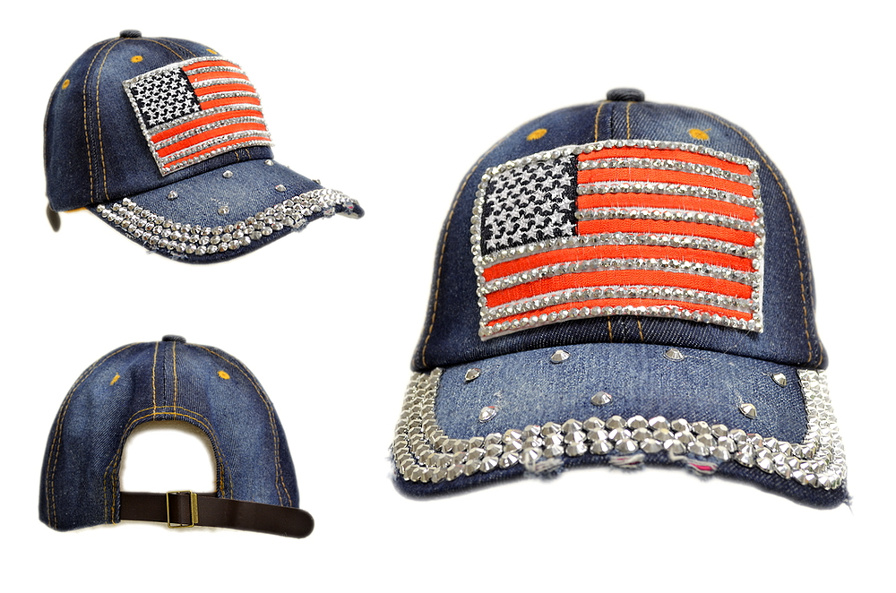 BLING BLING USA FLAG JEWEL RHINESTONE DENIM BASEBALL CAP