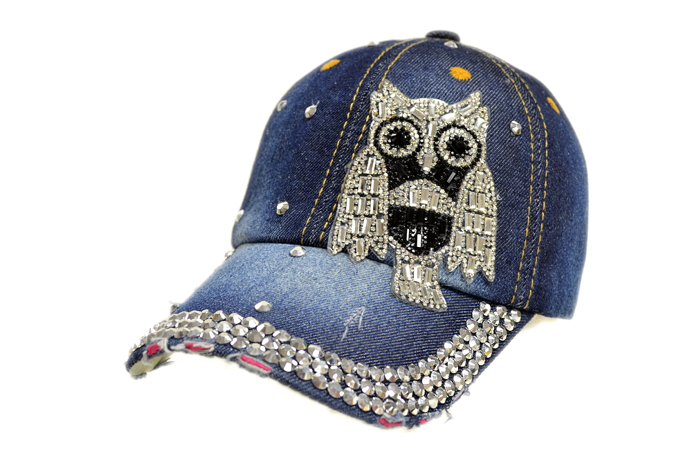 Bling Bling Owl Denim Baseball Cap