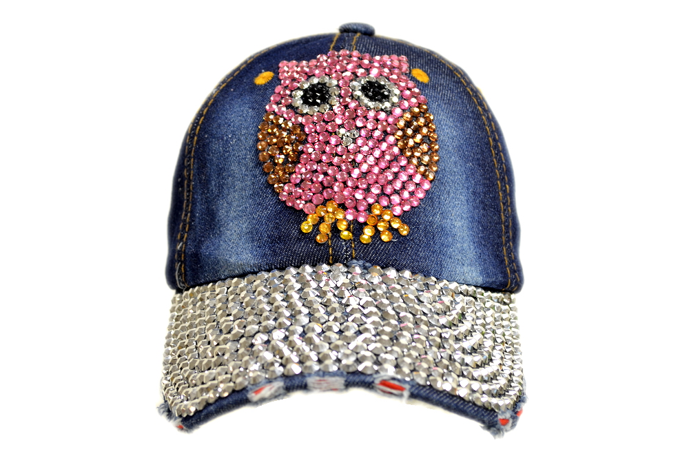 Bling Bling Pink Owl Jewel Rhinestone Denim Baseball Cap