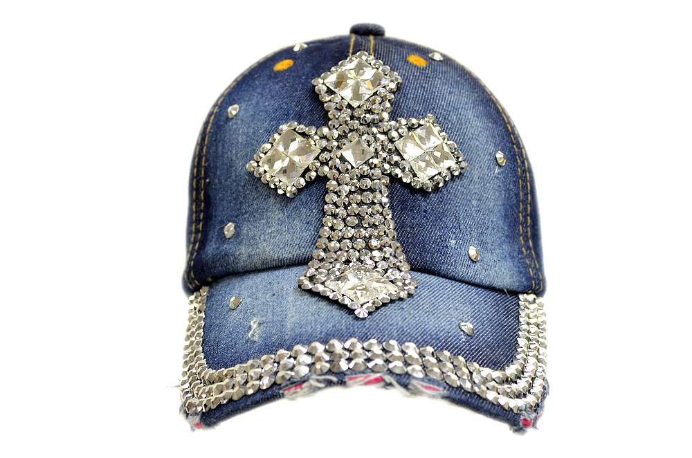 Bling Bling Cross Jewel Rhinestone Denim Baseball Cap
