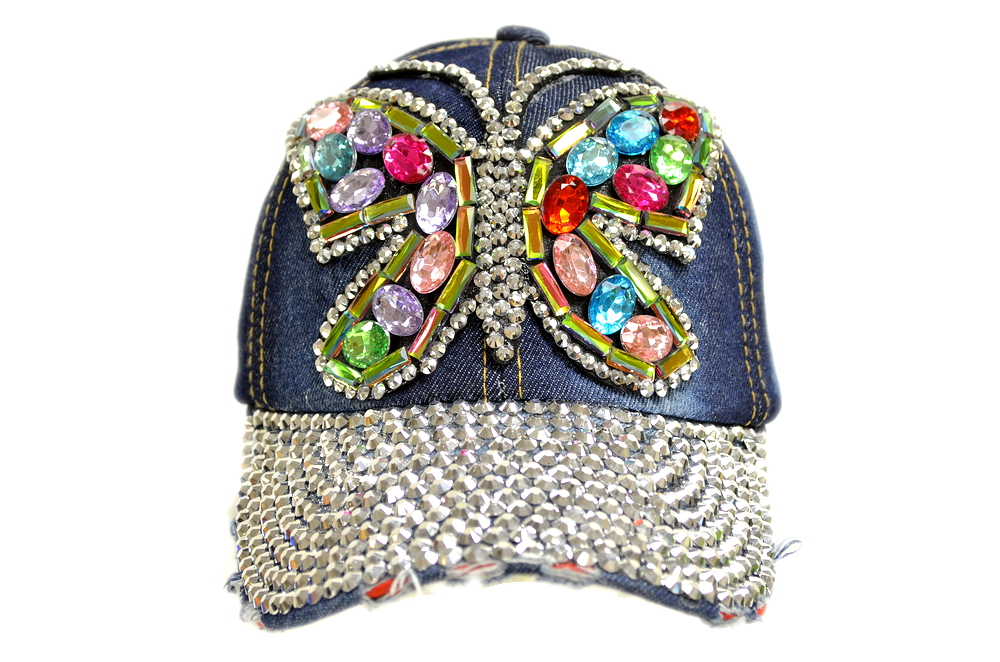 RAINBOW BUTTERFLY BLING BLING DENIM HAT