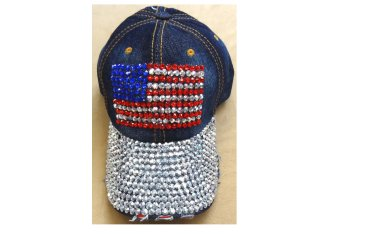 Bling Bling Denim Cap - USA Flag
