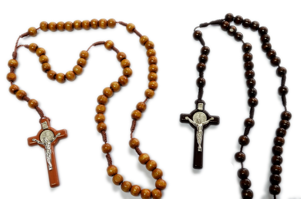 WOODEN ROSARY WITH LRG CROSS