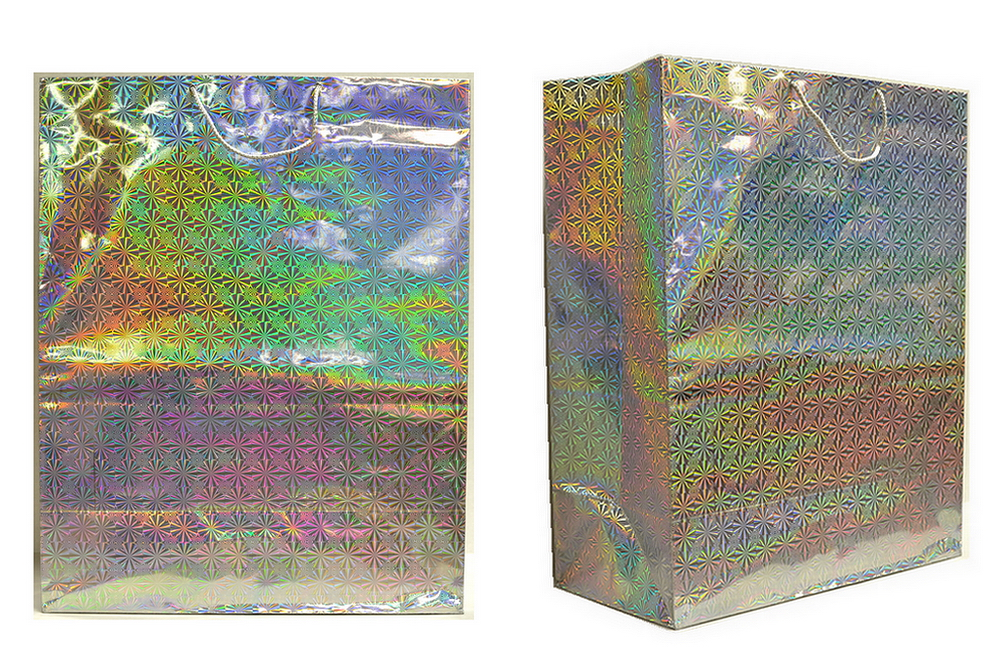 Assorted Color Jumbo Size Hologram Gift Bag, 19.3