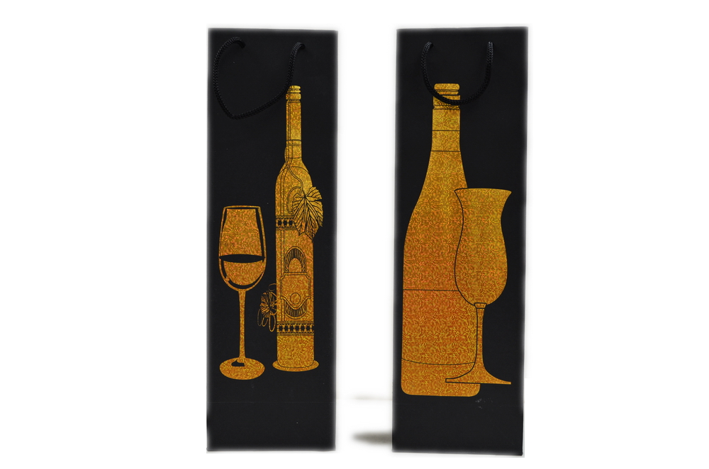 Black wine bag / gold foil pix, 2pix assort a dz