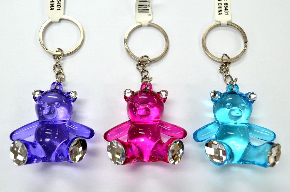 ASSORTED LUCITE BEAR WITH STONE KEY CHAIN