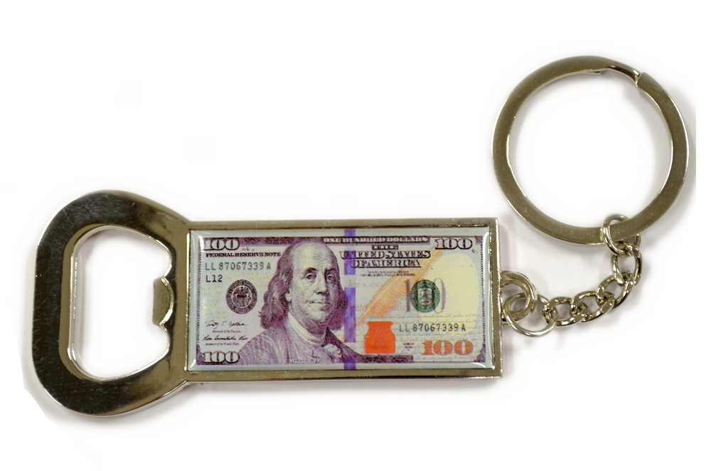 $100 Money Cap Opener Key Chain